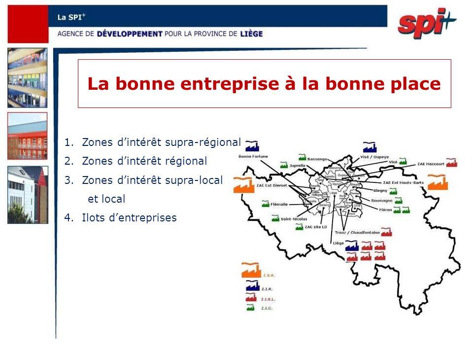 La bonne entreprise à la bonne place 1.Zones dintérêt supra-régional 2.Zones dintérêt régional 3.Zones dintérêt supra-local et local 4.Ilots dentreprises
