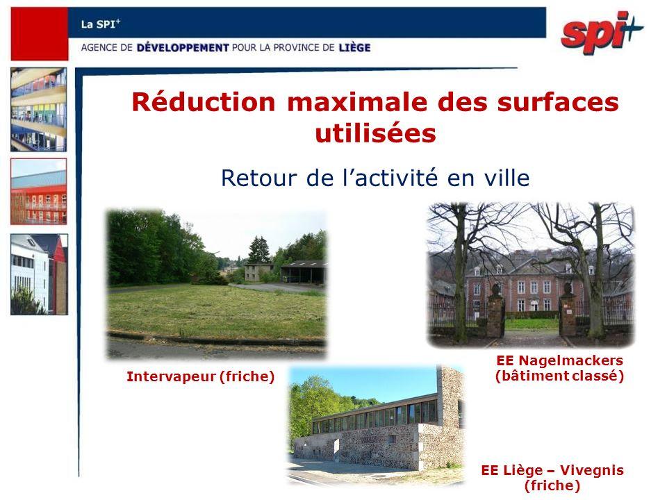 Intervapeur (friche) Réduction maximale des surfaces utilisées Retour de lactivité en ville EE Nagelmackers (bâtiment classé) EE Liège – Vivegnis (friche)