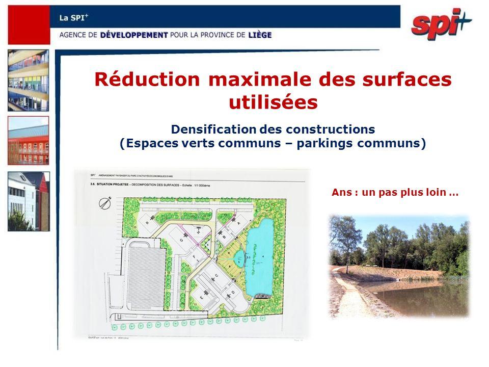 Réduction maximale des surfaces utilisées Ans : un pas plus loin … Densification des constructions (Espaces verts communs – parkings communs)