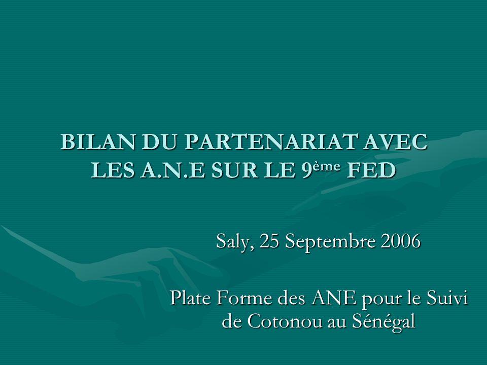 BILAN DU PARTENARIAT AVEC LES A.N.E SUR LE 9 ème FED Saly, 25 Septembre 2006 Plate Forme des ANE pour le Suivi de Cotonou au Sénégal