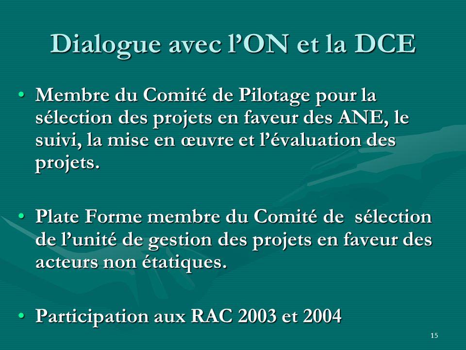 15 Dialogue avec lON et la DCE Membre du Comité de Pilotage pour la sélection des projets en faveur des ANE, le suivi, la mise en œuvre et lévaluation des projets.Membre du Comité de Pilotage pour la sélection des projets en faveur des ANE, le suivi, la mise en œuvre et lévaluation des projets.