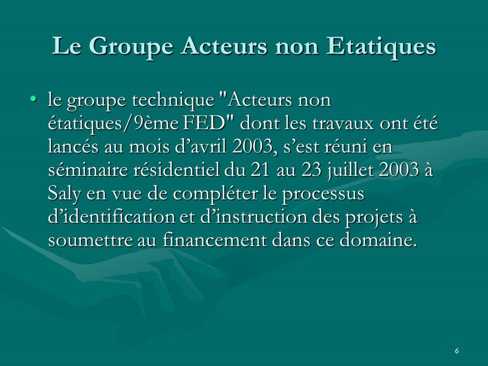 7 2004 - Constitution de la Plate Forme des A.N.E pour le Suivi de Cotonou au Sénégal Considérant que la participation des A.N.E.
