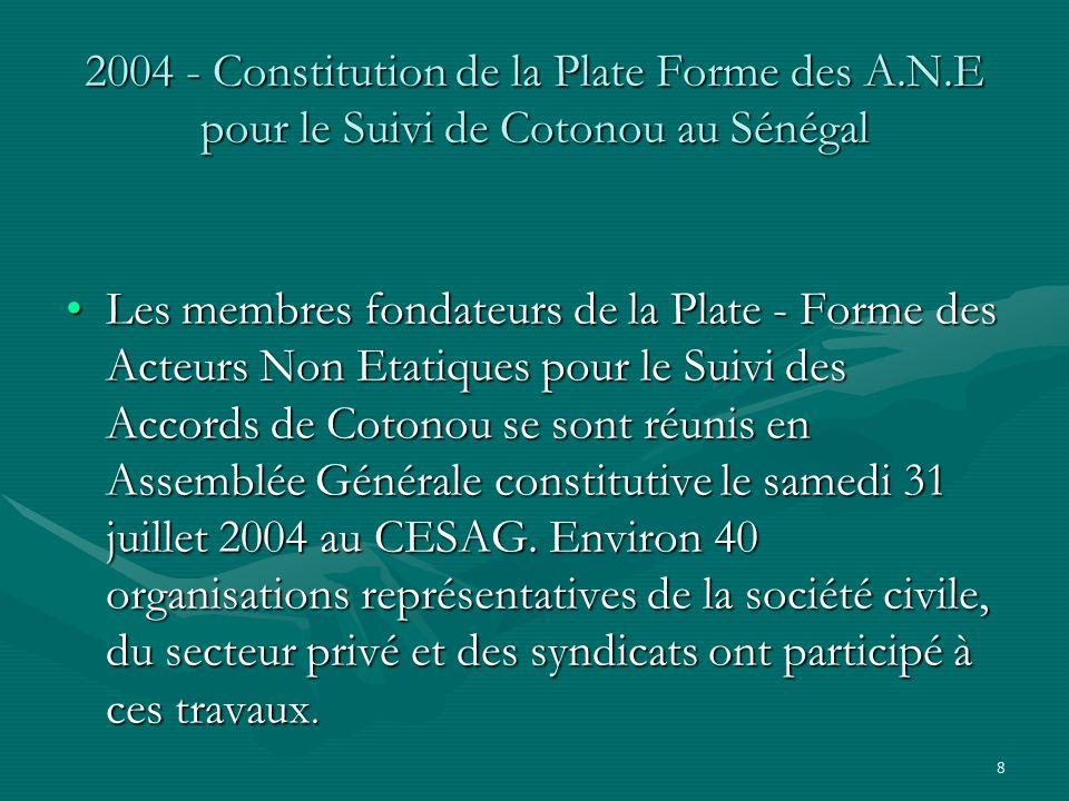 8 2004 - Constitution de la Plate Forme des A.N.E pour le Suivi de Cotonou au Sénégal Les membres fondateurs de la Plate - Forme des Acteurs Non Etatiques pour le Suivi des Accords de Cotonou se sont réunis en Assemblée Générale constitutive le samedi 31 juillet 2004 au CESAG.