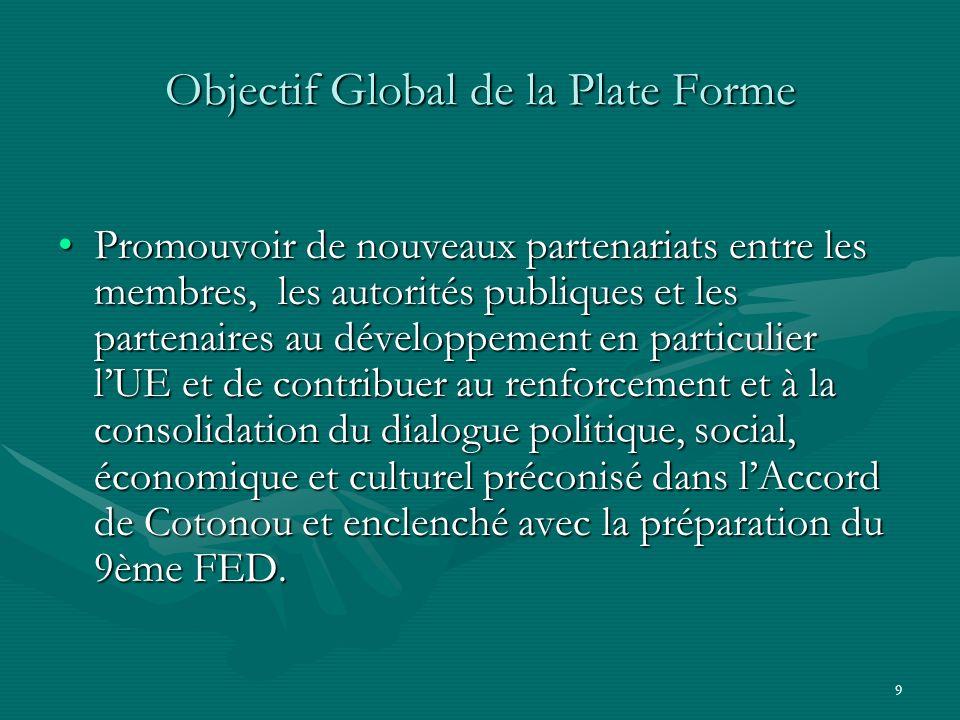 9 Objectif Global de la Plate Forme Promouvoir de nouveaux partenariats entre les membres, les autorités publiques et les partenaires au développement en particulier lUE et de contribuer au renforcement et à la consolidation du dialogue politique, social, économique et culturel préconisé dans lAccord de Cotonou et enclenché avec la préparation du 9ème FED.Promouvoir de nouveaux partenariats entre les membres, les autorités publiques et les partenaires au développement en particulier lUE et de contribuer au renforcement et à la consolidation du dialogue politique, social, économique et culturel préconisé dans lAccord de Cotonou et enclenché avec la préparation du 9ème FED.