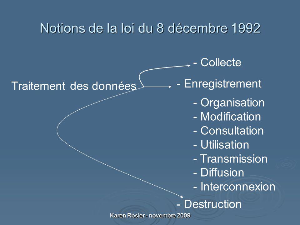 Karen Rosier - novembre 2009 Notions de la loi du 8 décembre 1992 - Organisation - Modification - Consultation - Utilisation - Transmission - Diffusion - Interconnexion - Collecte - Enregistrement - Destruction Traitement des données