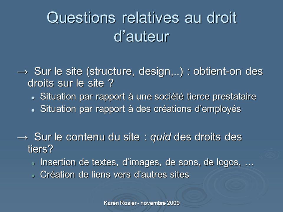 Karen Rosier - novembre 2009 Questions relatives au droit dauteur Sur le site (structure, design,..) : obtient-on des droits sur le site .