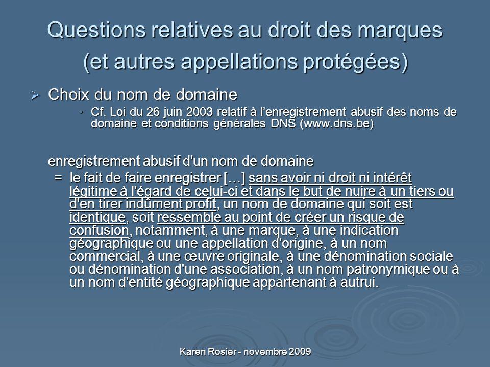 Karen Rosier - novembre 2009 Questions relatives au droit des marques (et autres appellations protégées) Choix du nom de domaine Choix du nom de domaine Cf.