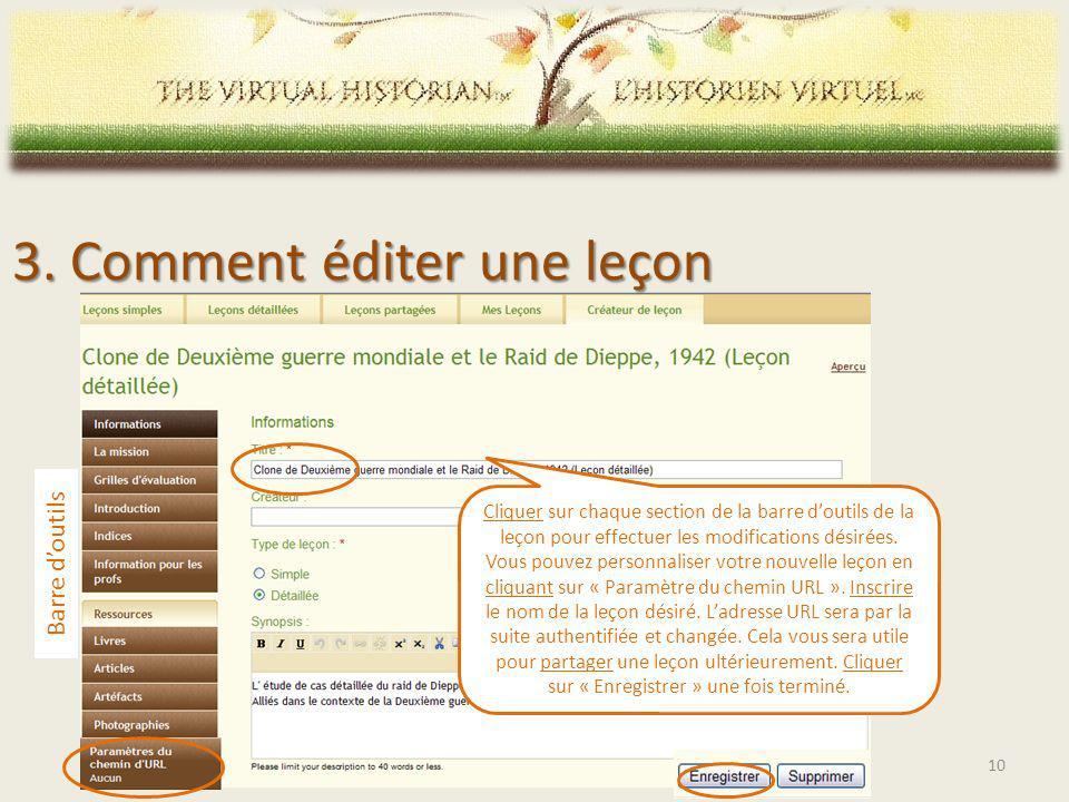 Cliquer sur chaque section de la barre doutils de la leçon pour effectuer les modifications désirées.