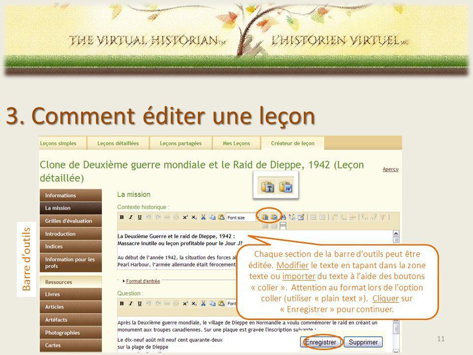 Chaque section de la barre doutils peut être éditée.