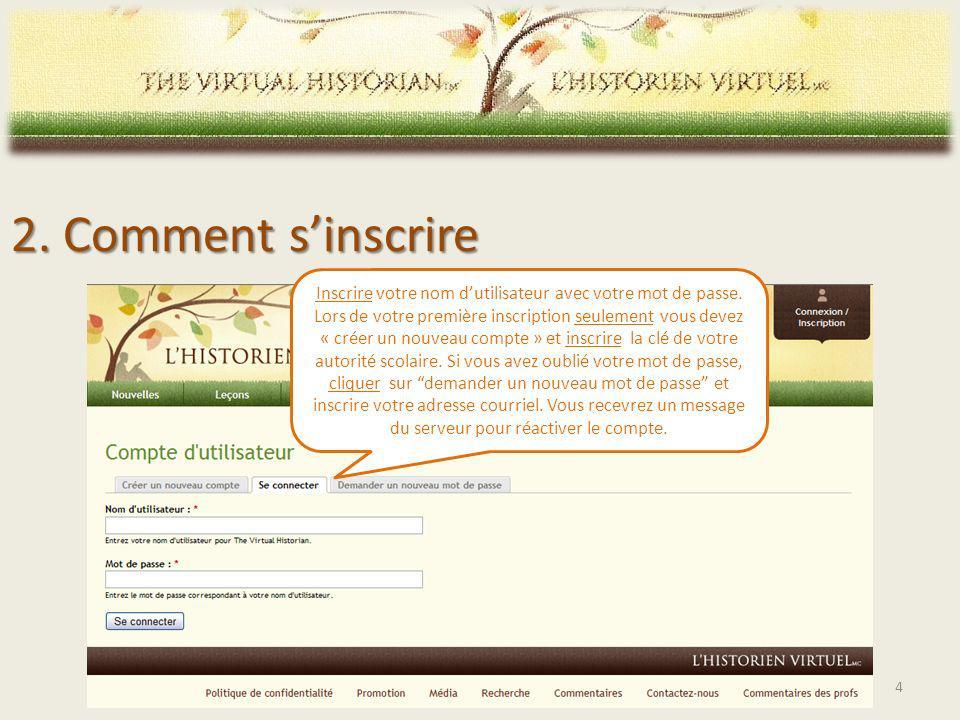 2. Comment sinscrire Inscrire votre nom dutilisateur avec votre mot de passe.