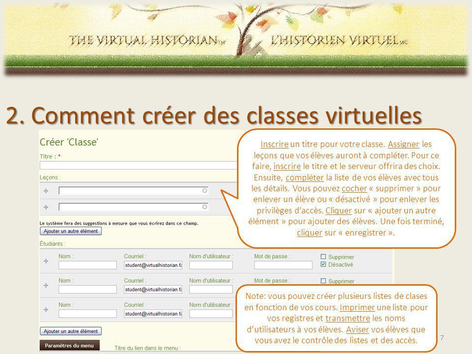 2. Comment créer des classes virtuelles Inscrire un titre pour votre classe.
