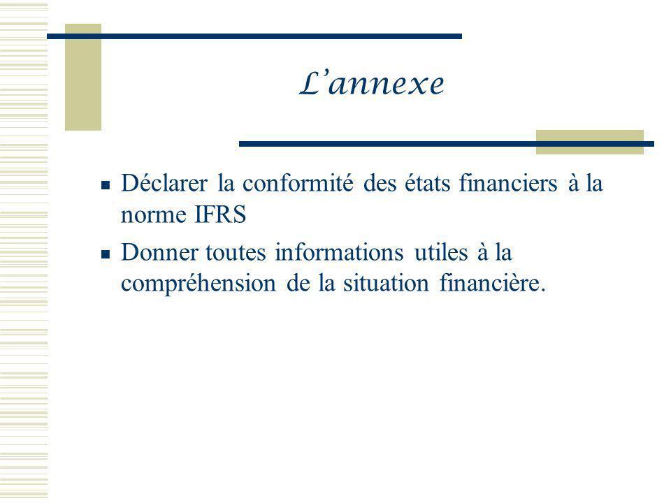 Lannexe Déclarer la conformité des états financiers à la norme IFRS Donner toutes informations utiles à la compréhension de la situation financière.