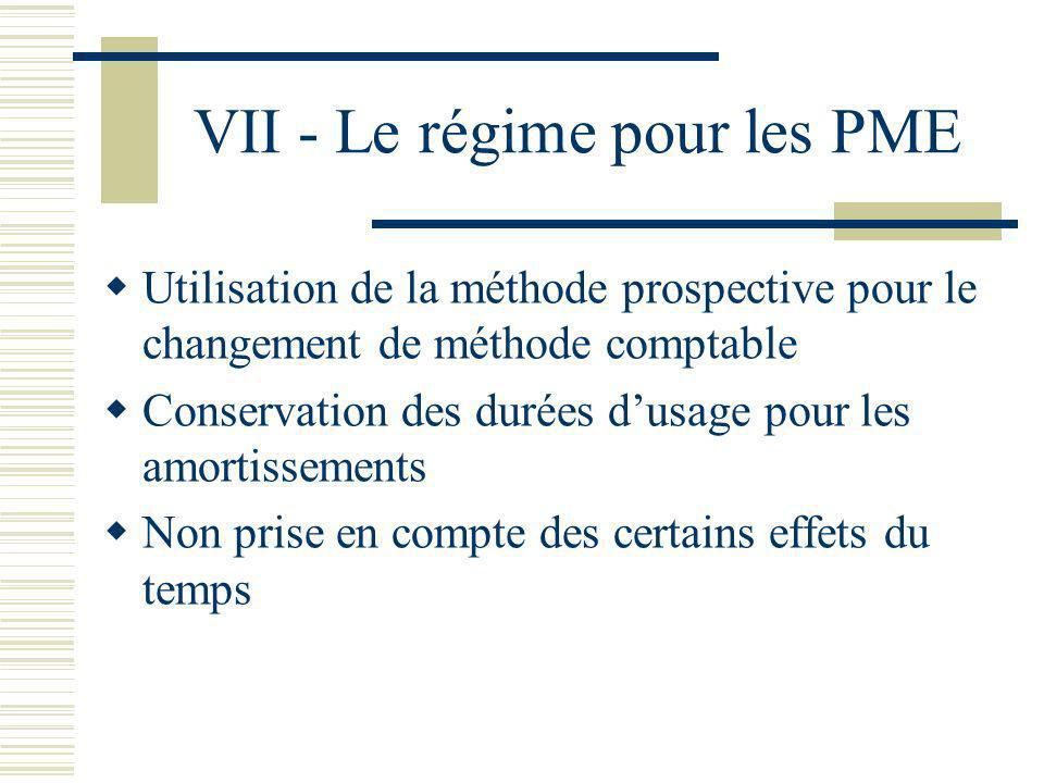 VII - Le régime pour les PME Utilisation de la méthode prospective pour le changement de méthode comptable Conservation des durées dusage pour les amo