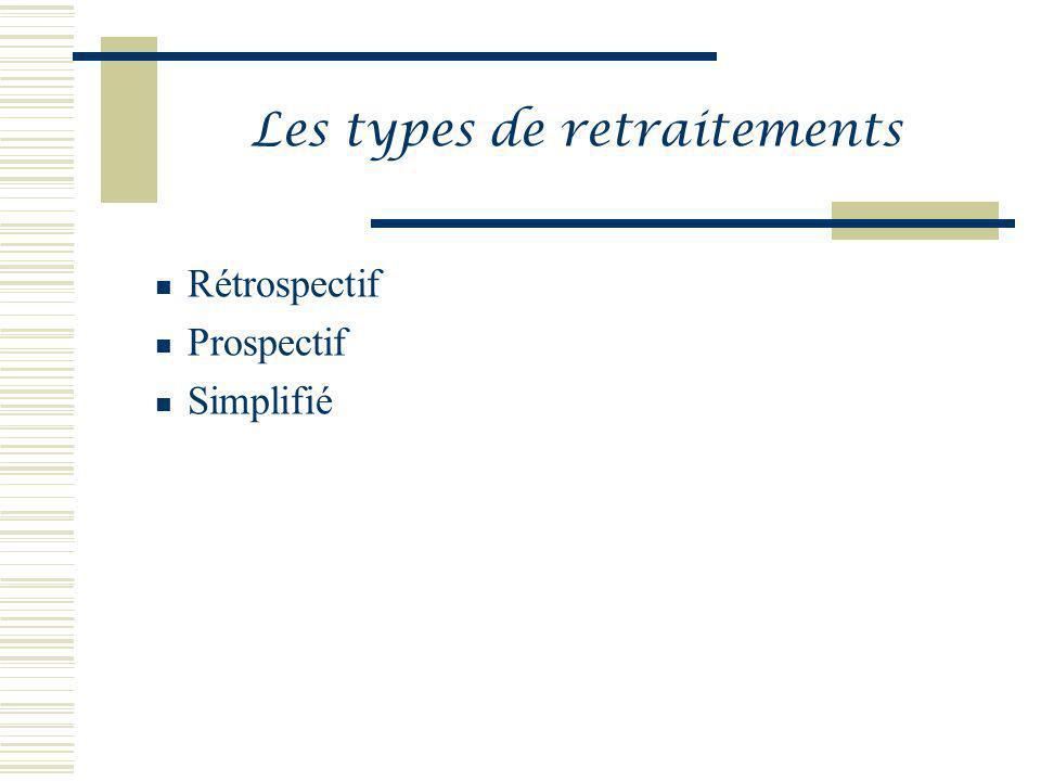 Les types de retraitements Rétrospectif Prospectif Simplifié