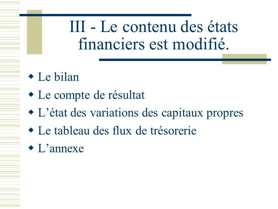 III - Le contenu des états financiers est modifié. Le bilan Le compte de résultat Létat des variations des capitaux propres Le tableau des flux de tré