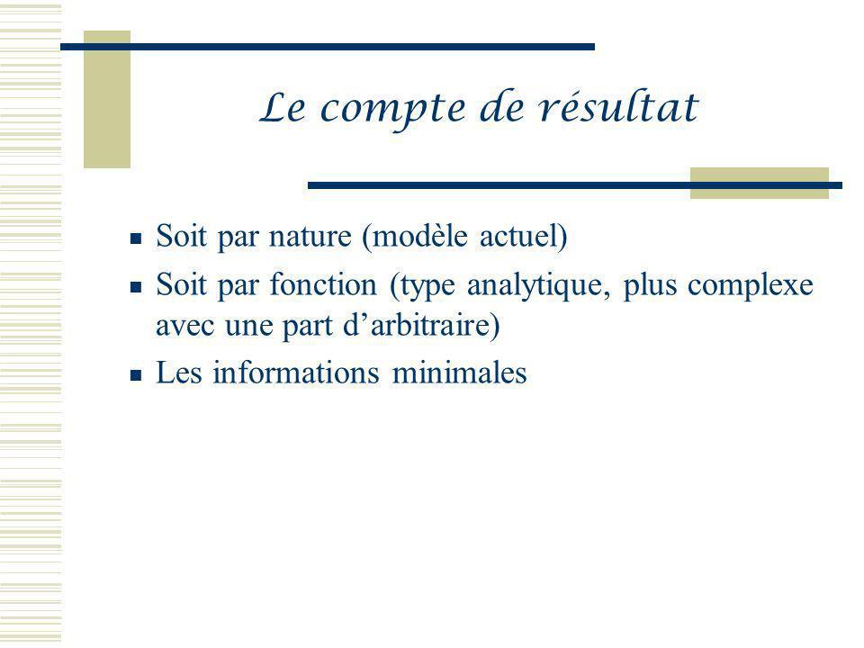 Le compte de résultat Soit par nature (modèle actuel) Soit par fonction (type analytique, plus complexe avec une part darbitraire) Les informations mi