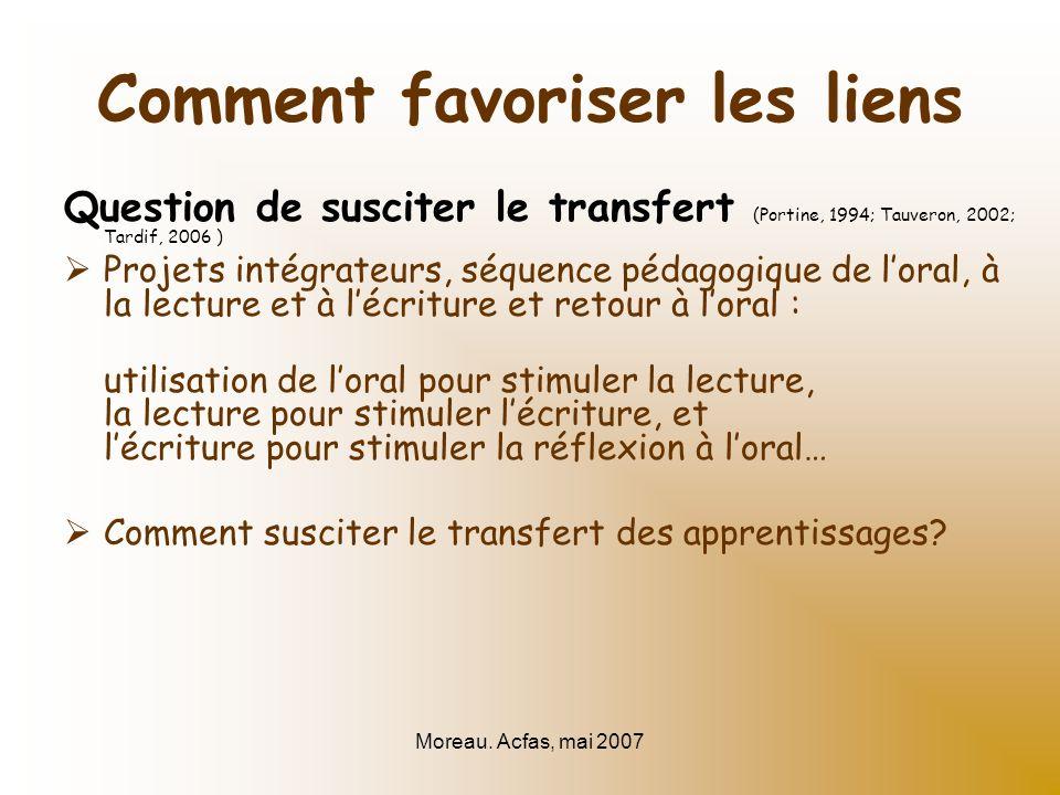 Moreau. Acfas, mai 2007 Comment favoriser les liens Question de susciter le transfert (Portine, 1994; Tauveron, 2002; Tardif, 2006 ) Projets intégrate