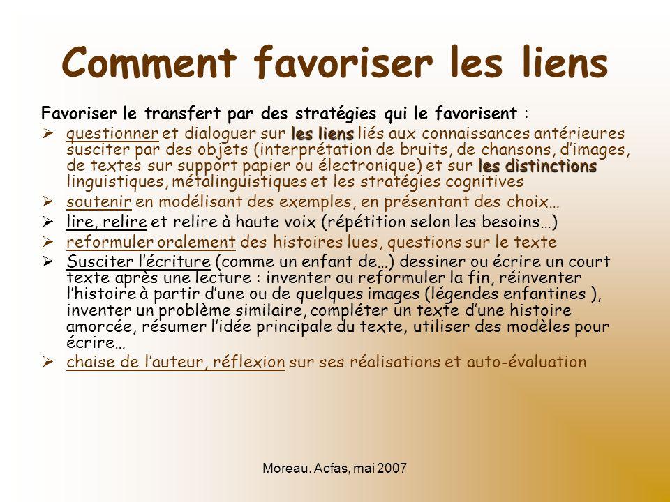Moreau. Acfas, mai 2007 Comment favoriser les liens Favoriser le transfert par des stratégies qui le favorisent : les liens les distinctions questionn