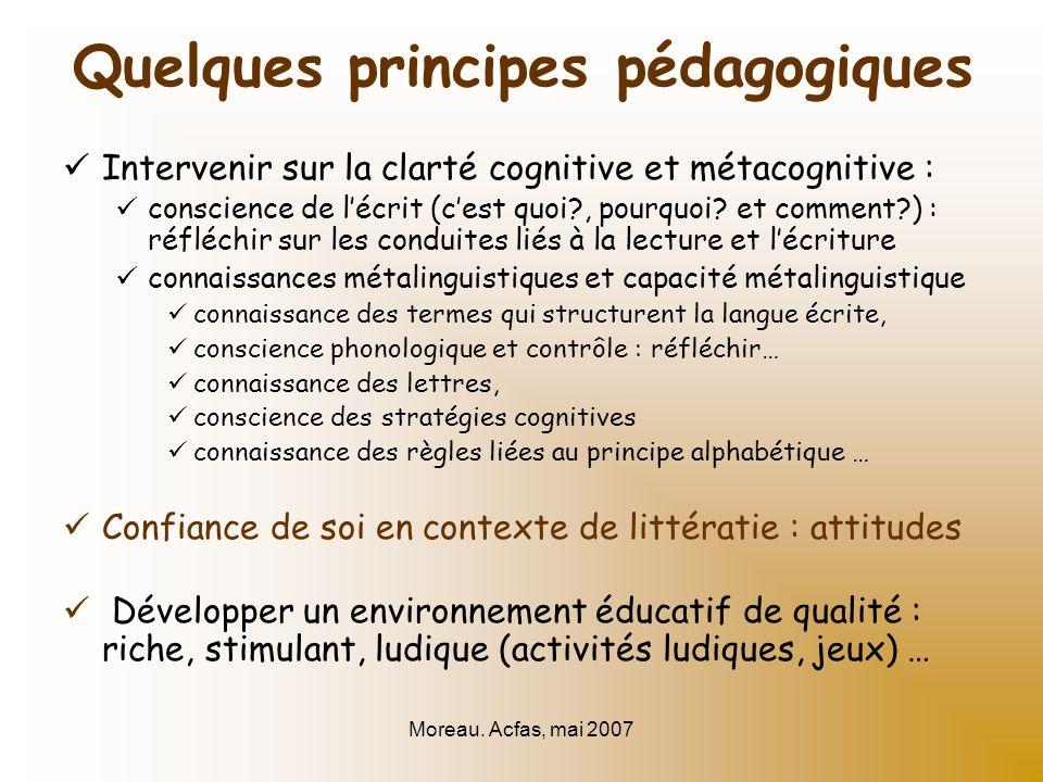 Moreau. Acfas, mai 2007 Intervenir sur la clarté cognitive et métacognitive : conscience de lécrit (cest quoi?, pourquoi? et comment?) : réfléchir sur
