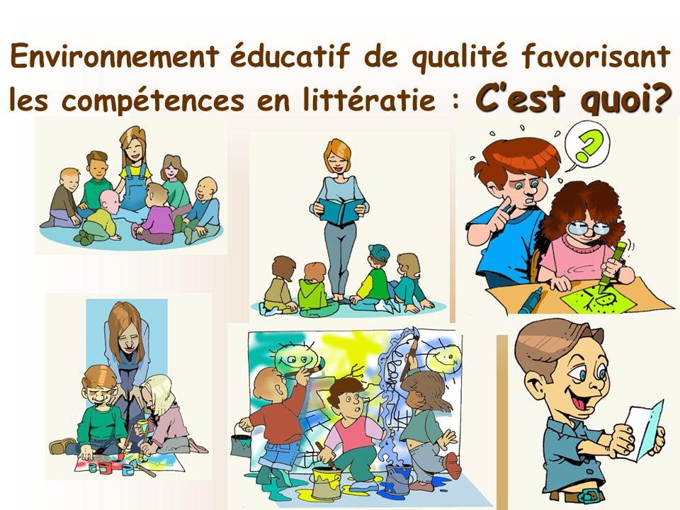 Moreau. Acfas, mai 2007 Cest quoi? Environnement éducatif de qualité favorisant les compétences en littératie : Cest quoi?