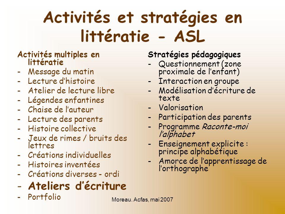 Moreau. Acfas, mai 2007 Activités et stratégies en littératie - ASL Activités multiples en littératie -Message du matin -Lecture dhistoire -Atelier de