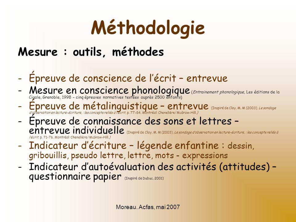 Moreau. Acfas, mai 2007 Méthodologie Mesure : outils, méthodes -Épreuve de conscience de lécrit – entrevue -Mesure en conscience phonologique (Entrain