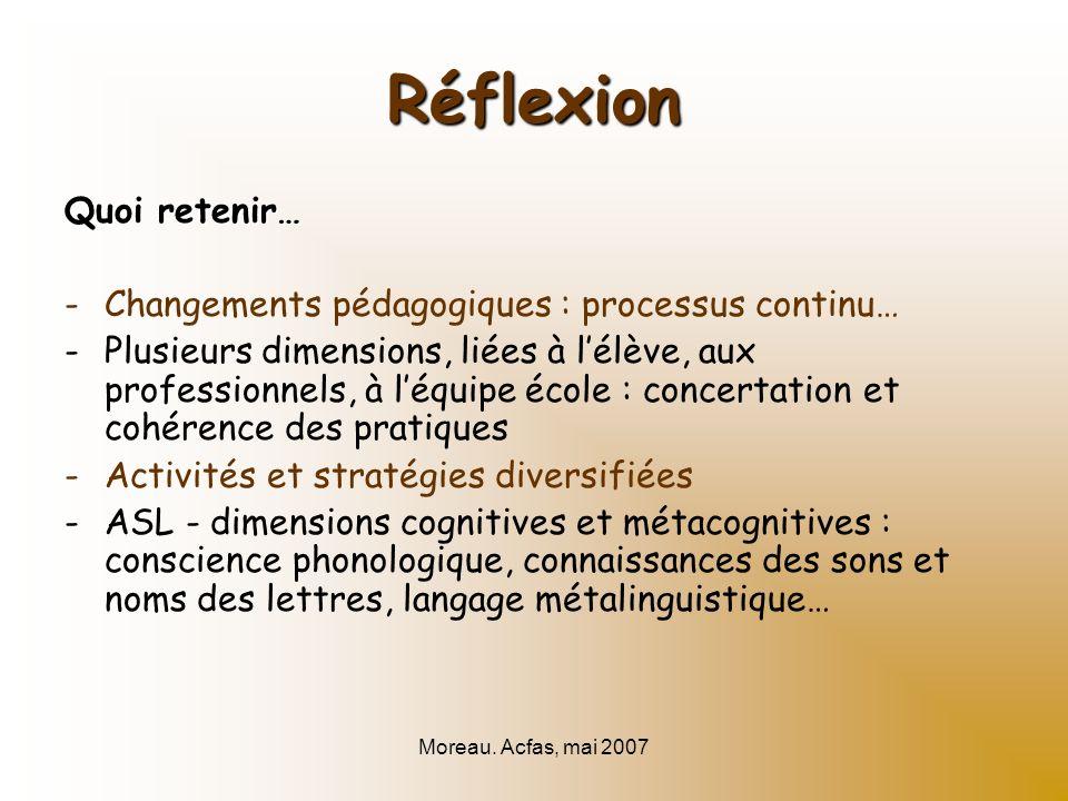 Moreau. Acfas, mai 2007 Réflexion Quoi retenir… -Changements pédagogiques : processus continu… -Plusieurs dimensions, liées à lélève, aux professionne