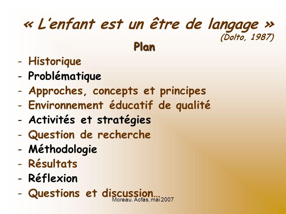 Moreau. Acfas, mai 2007 « Lenfant est un être de langage » (Dolto, 1987) Plan -Historique -Problématique -Approches, concepts et principes -Environnem