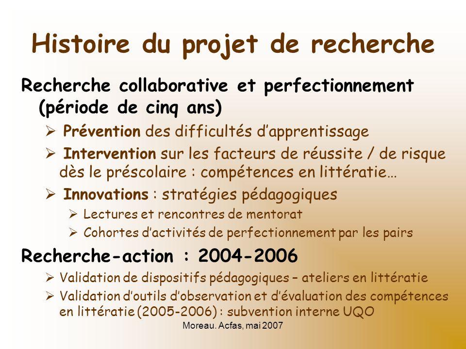 Moreau. Acfas, mai 2007 Histoire du projet de recherche Recherche collaborative et perfectionnement (période de cinq ans) Prévention des difficultés d