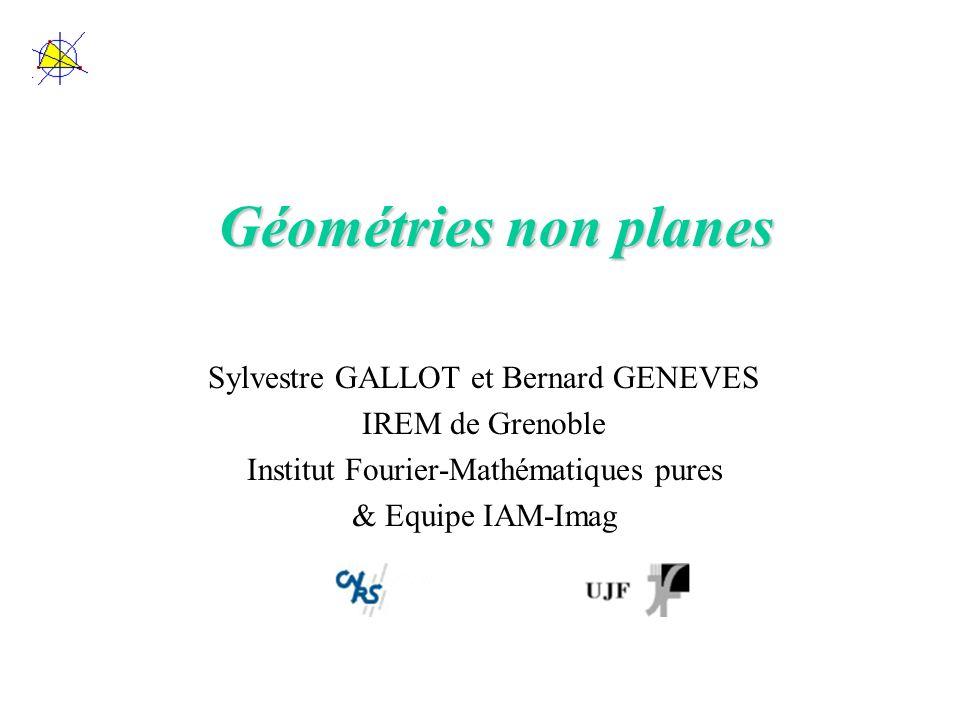Les droites et autres notions… Dans ce cadre, restent à définir –Les droites (et vérifier si les grands cercles de la sphère, et les droites des surfaces polyédrales, sont des droites en ce sens) –Les angles –Les triangles Ces thèmes seront développés, accompagnés de figures dynamiques commentées sur le site de lIrem de Grenoble : http://www.ac-grenoble.fr/irem/ Avec dautres thèmes : la formule de Gauss-Bonnet, loptique et les surfaces polyédrales.