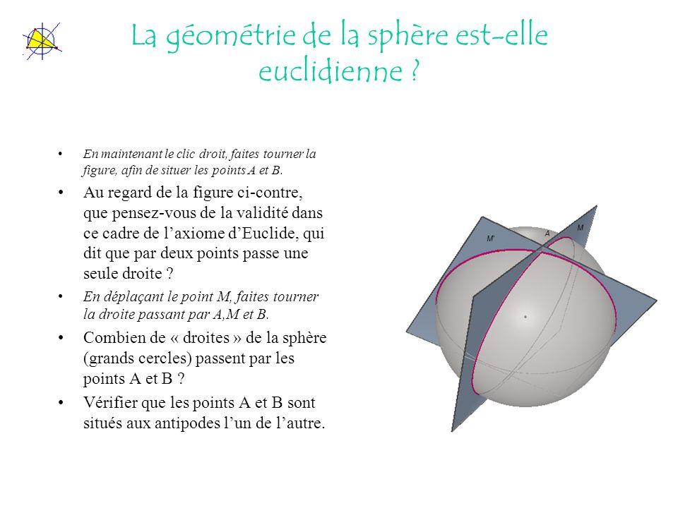 La géométrie de la sphère est-elle euclidienne ? En maintenant le clic droit, faites tourner la figure, afin de situer les points A et B. Au regard de