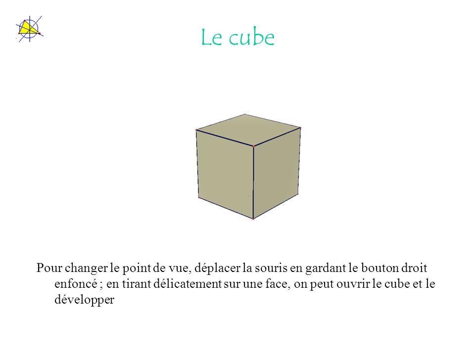 Le cube Pour changer le point de vue, déplacer la souris en gardant le bouton droit enfoncé ; en tirant délicatement sur une face, on peut ouvrir le cube et le développer