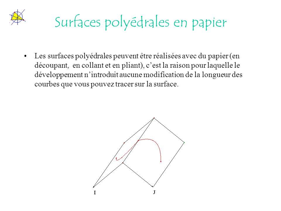 Surfaces polyédrales en papier Les surfaces polyédrales peuvent être réalisées avec du papier (en découpant, en collant et en pliant), cest la raison pour laquelle le développement nintroduit aucune modification de la longueur des courbes que vous pouvez tracer sur la surface.