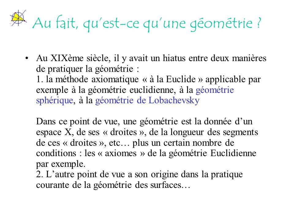 Au fait, quest-ce quune géométrie ? Au XIXème siècle, il y avait un hiatus entre deux manières de pratiquer la géométrie : 1. la méthode axiomatique «