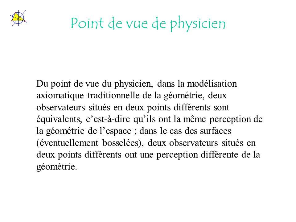 Point de vue de physicien Du point de vue du physicien, dans la modélisation axiomatique traditionnelle de la géométrie, deux observateurs situés en d