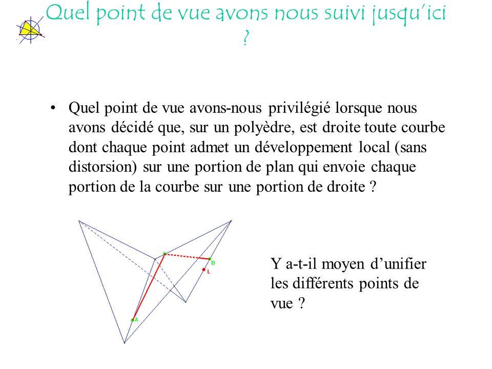 Quel point de vue avons-nous privilégié lorsque nous avons décidé que, sur un polyèdre, est droite toute courbe dont chaque point admet un développement local (sans distorsion) sur une portion de plan qui envoie chaque portion de la courbe sur une portion de droite .