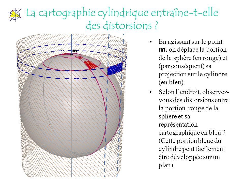 La cartographie cylindrique entraîne-t-elle des distorsions ? En agissant sur le point m, on déplace la portion de la sphère (en rouge) et (par conséq