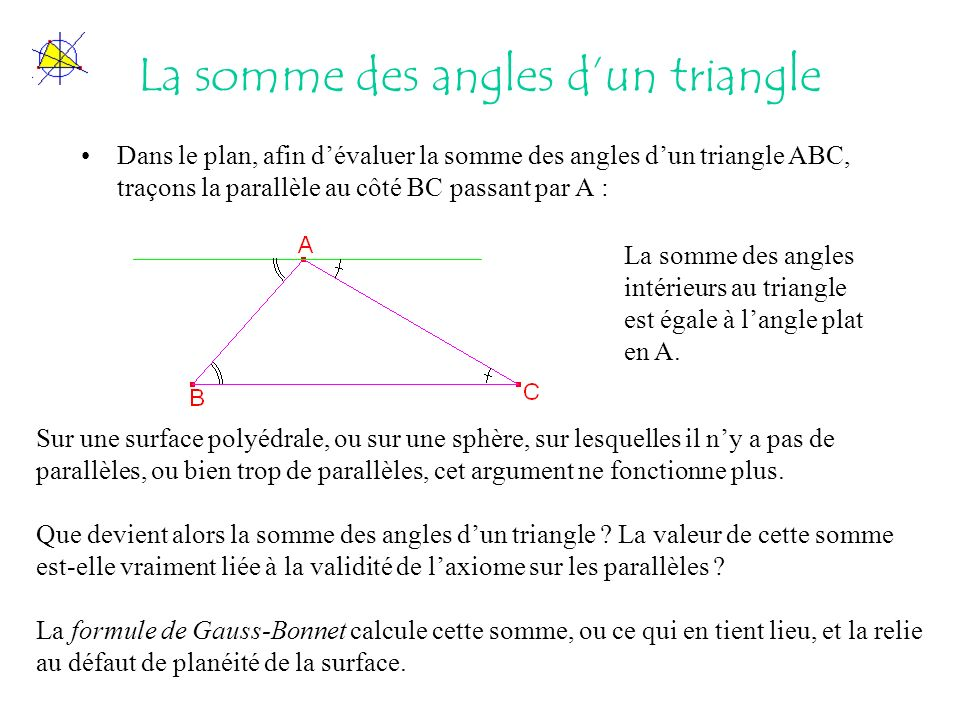 La somme des angles dun triangle Dans le plan, afin dévaluer la somme des angles dun triangle ABC, traçons la parallèle au côté BC passant par A : Sur une surface polyédrale, ou sur une sphère, sur lesquelles il ny a pas de parallèles, ou bien trop de parallèles, cet argument ne fonctionne plus.