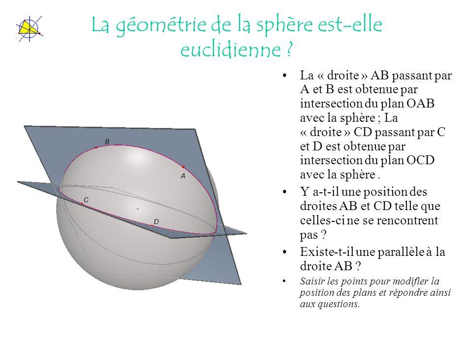 La géométrie de la sphère est-elle euclidienne ? La « droite » AB passant par A et B est obtenue par intersection du plan OAB avec la sphère ; La « dr