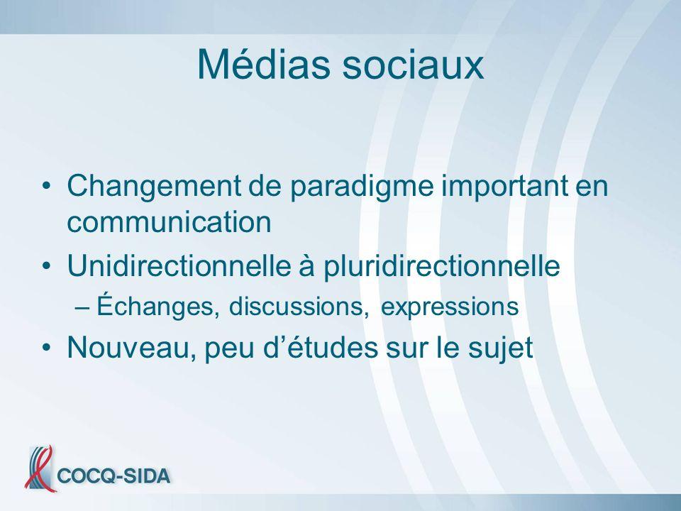 Médias sociaux Changement de paradigme important en communication Unidirectionnelle à pluridirectionnelle –Échanges, discussions, expressions Nouveau, peu détudes sur le sujet