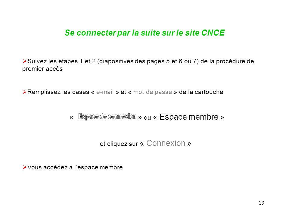 13 Se connecter par la suite sur le site CNCE Suivez les étapes 1 et 2 (diapositives des pages 5 et 6 ou 7) de la procédure de premier accès Remplissez les cases « e-mail » et « mot de passe » de la cartouche « » ou « Espace membre » et cliquez sur « Connexion » Vous accédez à lespace membre
