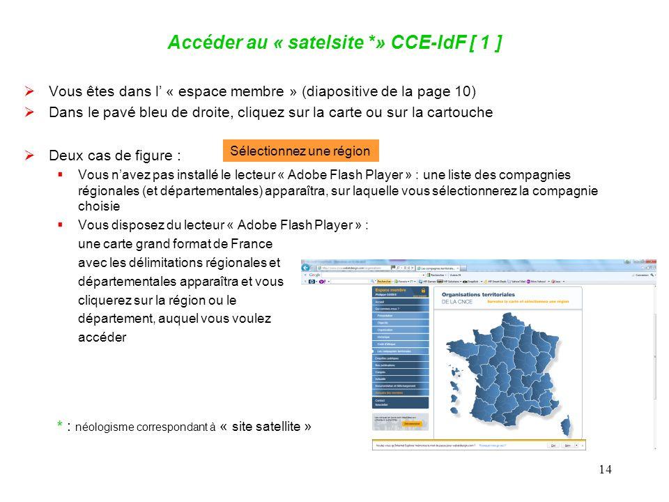 14 Accéder au « satelsite *» CCE-IdF [ 1 ] Vous êtes dans l « espace membre » (diapositive de la page 10) Dans le pavé bleu de droite, cliquez sur la carte ou sur la cartouche Deux cas de figure : Vous navez pas installé le lecteur « Adobe Flash Player » : une liste des compagnies régionales (et départementales) apparaîtra, sur laquelle vous sélectionnerez la compagnie choisie Vous disposez du lecteur « Adobe Flash Player » : une carte grand format de France avec les délimitations régionales et départementales apparaîtra et vous cliquerez sur la région ou le département, auquel vous voulez accéder Sélectionnez une région * : néologisme correspondant à « site satellite »