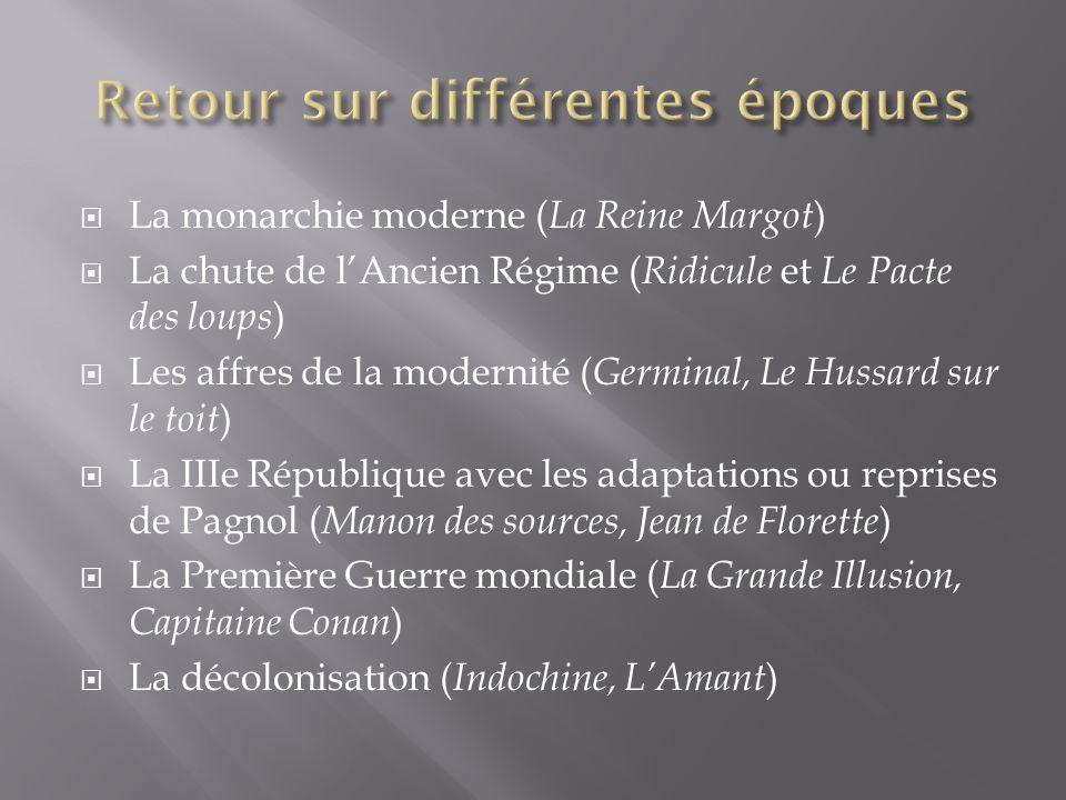 La monarchie moderne ( La Reine Margot ) La chute de lAncien Régime ( Ridicule et Le Pacte des loups ) Les affres de la modernité ( Germinal, Le Hussa