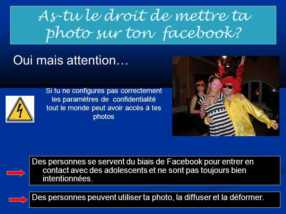 As-tu le droit de mettre ta photo sur ton facebook? Oui mais attention… Des personnes se servent du biais de Facebook pour entrer en contact avec des