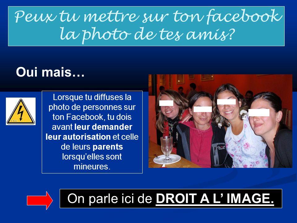 Peux tu mettre sur ton facebook la photo de tes amis? Oui mais… Lorsque tu diffuses la photo de personnes sur ton Facebook, tu dois avant leur demande