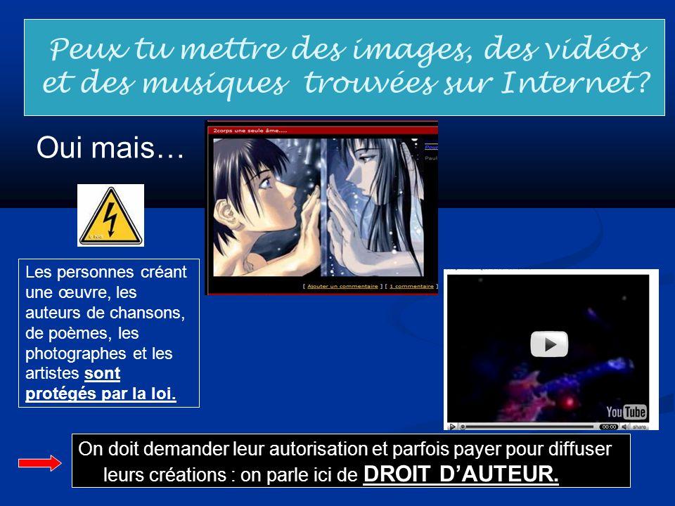 Peux tu mettre des images, des vidéos et des musiques trouvées sur Internet? Oui mais… Les personnes créant une œuvre, les auteurs de chansons, de poè