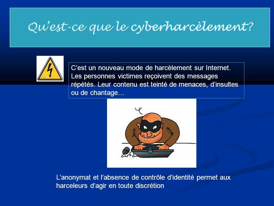 Quest-ce que le cyberharcèlement? Cest un nouveau mode de harcèlement sur Internet. Les personnes victimes reçoivent des messages répétés. Leur conten
