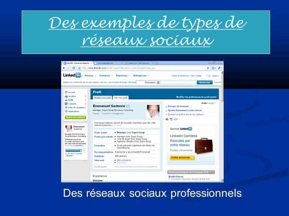 Des exemples de types de réseaux sociaux Des réseaux sociaux professionnels