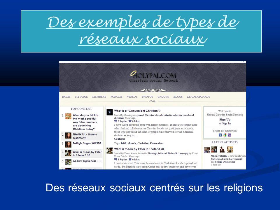 Des exemples de types de réseaux sociaux Des réseaux sociaux centrés sur les religions