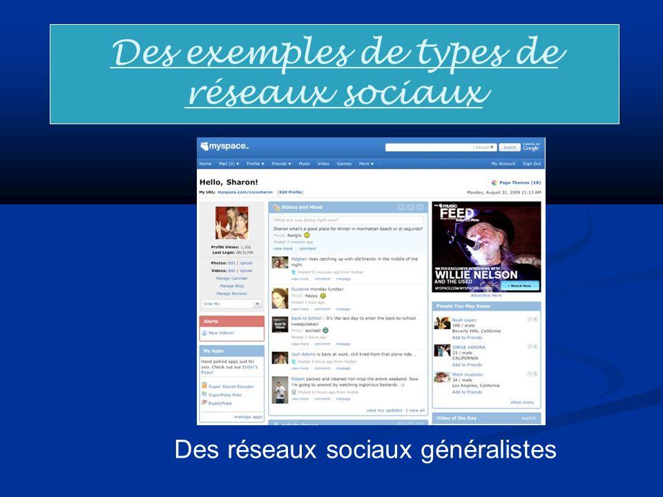 Des exemples de types de réseaux sociaux Des réseaux sociaux généralistes